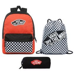 Vans Realm Paprika-Checkerboard Backpack + Benched Bag + Pencil Pouch