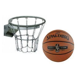 Basketball Rim + Spalding NBA Platinium Streetball Outdoor Basketball