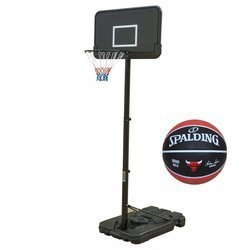 Basketball set Black 305 cm + Spalding Chicago Bulls Basketball