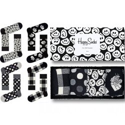 Giftbox 4-pack Happy Socks Black and White - XBLW09-9003