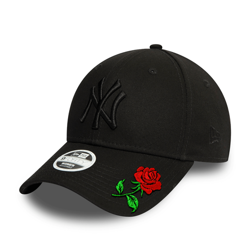 New Era 9FORTY Cap Black NY - 12122742 Custom Rose