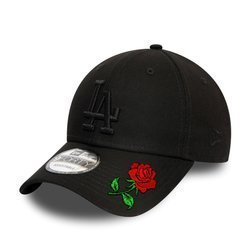 New Era 9FORTY Los Angeles Dodgers Essential Black Strapback Custom Rose - 12052000