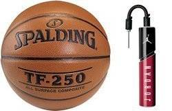 Spalding Basketball TF-250 Indoor/Outdoor + Air Jordan Essential Ball Pump