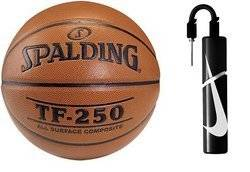 Spalding Basketball TF-250 Indoor/Outdoor + Nike Essential Dual Action Ball Pump