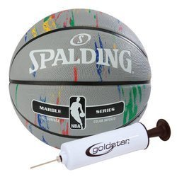 Spalding NBA Basketball Marble Series + Goldstar Ball Pump