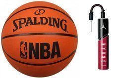 Spalding NBA Logo Outdoor Basketball + Air Jordan Essential Ball Pump