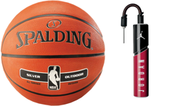 Spalding NBA Silver Basketball Outdoor  + pump Air Jordan