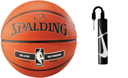 Spalding NBA Silver Basketball Outdoor  + pump Nike Essential