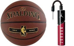 Spalding NBA Tack Soft Gold Basketball + pump Air Jordan
