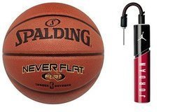 Spalding Never Flat indoor/outdoor Basketball - 3001530010017 + Air Jordan Essential Ball Pump