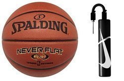 Spalding Never Flat indoor/outdoor Basketball - 3001530010017 + Nike Essential Dual Action Ball Pump