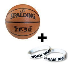 Spalding TF-50 Basketball + Work Hard Dream Big silicone bracelet wristband