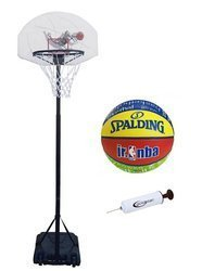 Spartan Portable Basketball Stand - 1179 + Spalding Basketball + pump