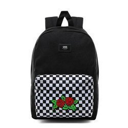 VANS New Skool Checkerboard Backpack Custom Red Roses - VN0002TL2OB