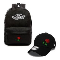 VANS Realm Backpack +  New Era 9FORTY Basic Cap  Custom Red Rose