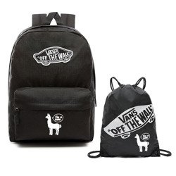 VANS Realm Backpack | VN0A3UI6BLK - Custom White Lama