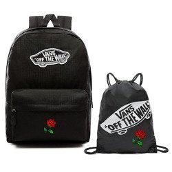 VANS Realm Custom Red Rose Backpack | VN0A3UI6BLK + Bag
