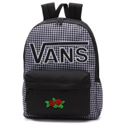 VANS Realm Flying V Backpack - Houndstooth Black/White | VN0A3UI8YER 006 - Custom Red Roses