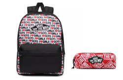 VANS Realm I Heart Backpack - VN0A3UI6VDA + Vans OTW Pencil Pouch Red