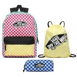 Vans Checker Block Backpack - VN0A3UI6ZL1 + Benched Bag + Pencil Pouch