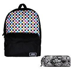Vans Glitter Check Realm Backpack - VN0A48HGUX9 + Pancil Pouch