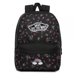 Vans Realm Beauty Floral Black Backpack Custom Rainbow - VN0A3UI6ZX3