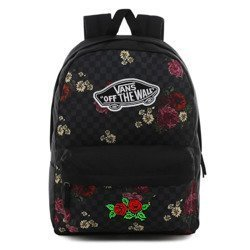 Vans Realm Botanical Check Backpack - VN0A3UI6UWX - Custom Red Roses