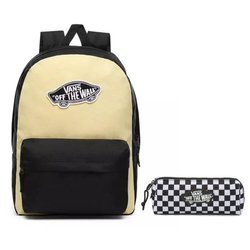 Vans Realm Golden Haze-Black Backpack + Pencil Pouch