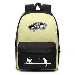 Vans Realm Lemon Tonic Checkerboard Backpack Custom Cats - VN0A3UI6VD7