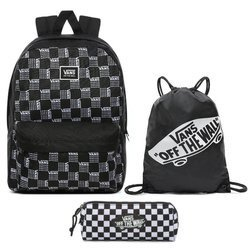 Vans Realm Word Check Backpack VN0A3UI7ZM0 + Benched Bag + Pencil Pouch