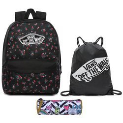 Vans Realm Beauty Floral Black Backpack + Benched Bag + Pencil Pouch
