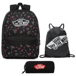 Vans Realm Beauty Floral Black Backpack + Pencil Pouch + Benched Bag