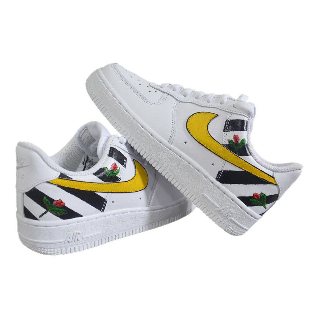 Nike WMNS Air Force 1 Low All White Custom Stripes & Flowers