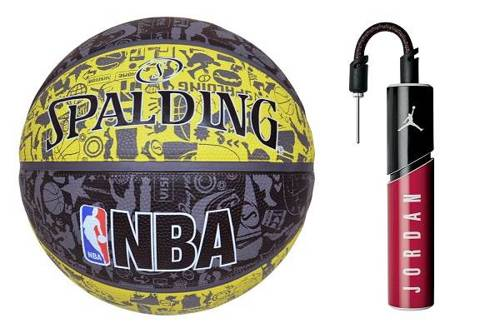 Spalding Graffiti Rubber Outdoor Basketball + pump Air Jordan