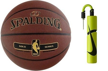 Spalding NBA Tack Soft Gold Basketball + Nike Essential Dual Action Ball Pump
