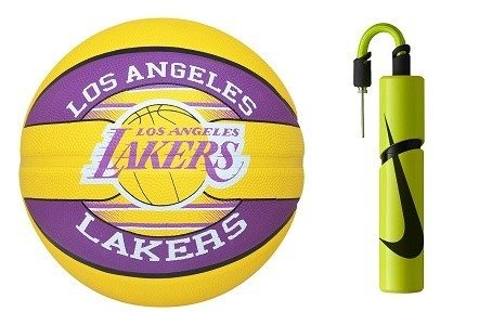 Spalding NBA Team Los Angeles Lakers Basketball + Nike Essential Dual Action Ball Pump