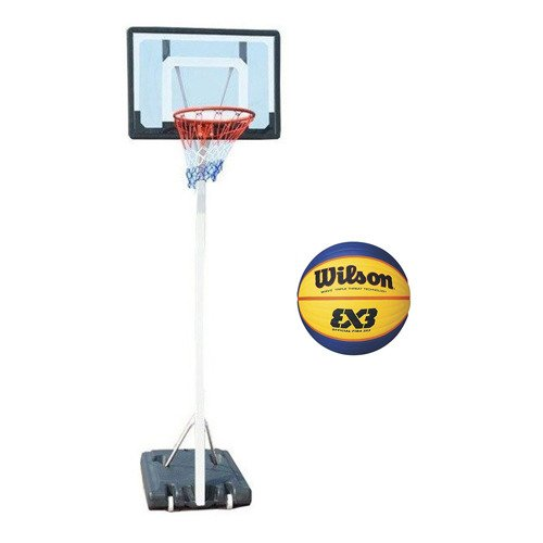 Spartan Portable Basketball Stand 1158 + Wilson Replica RBR Official