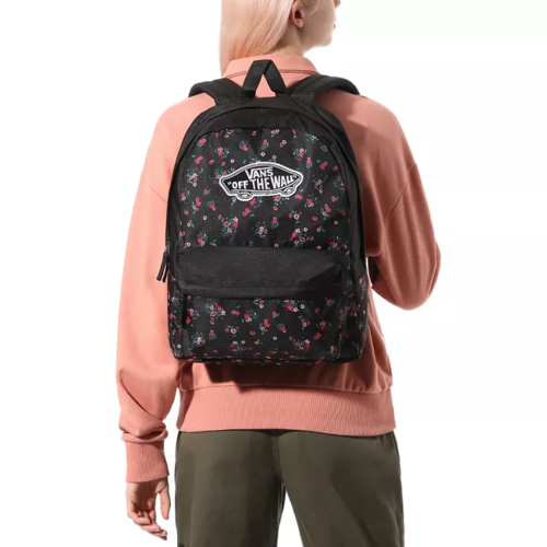 Vans Realm Beauty Floral Black Backpack Custom Rose - VN0A3UI6ZX3