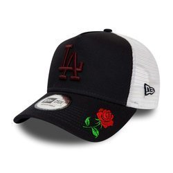 New Era LA Dodgers Navy A-Frame Trucker Snapback Custom Rose - 12285475