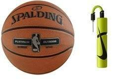 Spalding NBA Platinium Streetball Outdoor Basketball + Nike Essential Dual Action Ball Pump