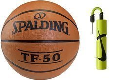 Spalding TF-50 Basketball + Nike Essential Dual Action Ball Pump