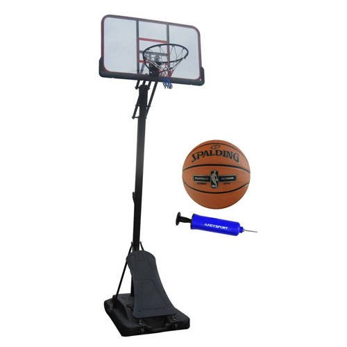 Basketball-Set Spartan Pro Basket Board + Spalding NBA Platinium Streetball Outdoor Basketball + Axer Sport Pumpe