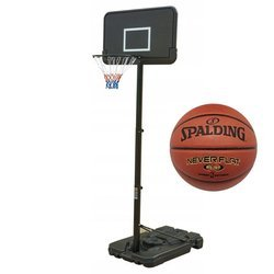 Basketball set Black 305 cm + Spalding Never Flat indoor/outdoor