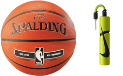 Spalding NBA Silver Pallacanestro Outdoor + Nike Essential Dual Action Ball Pump