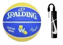 Spalding NBA Team Golden State Warriors Basketball + Nike Essential Dual Action Ball Pump